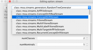 Choose moa.streams.ConceptDriftStream