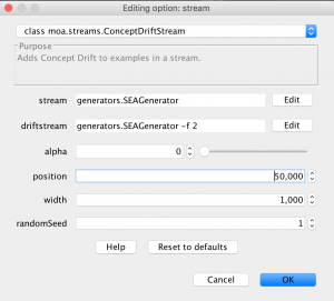 One possible configuration for ConceptDriftStream using SEAGenerator