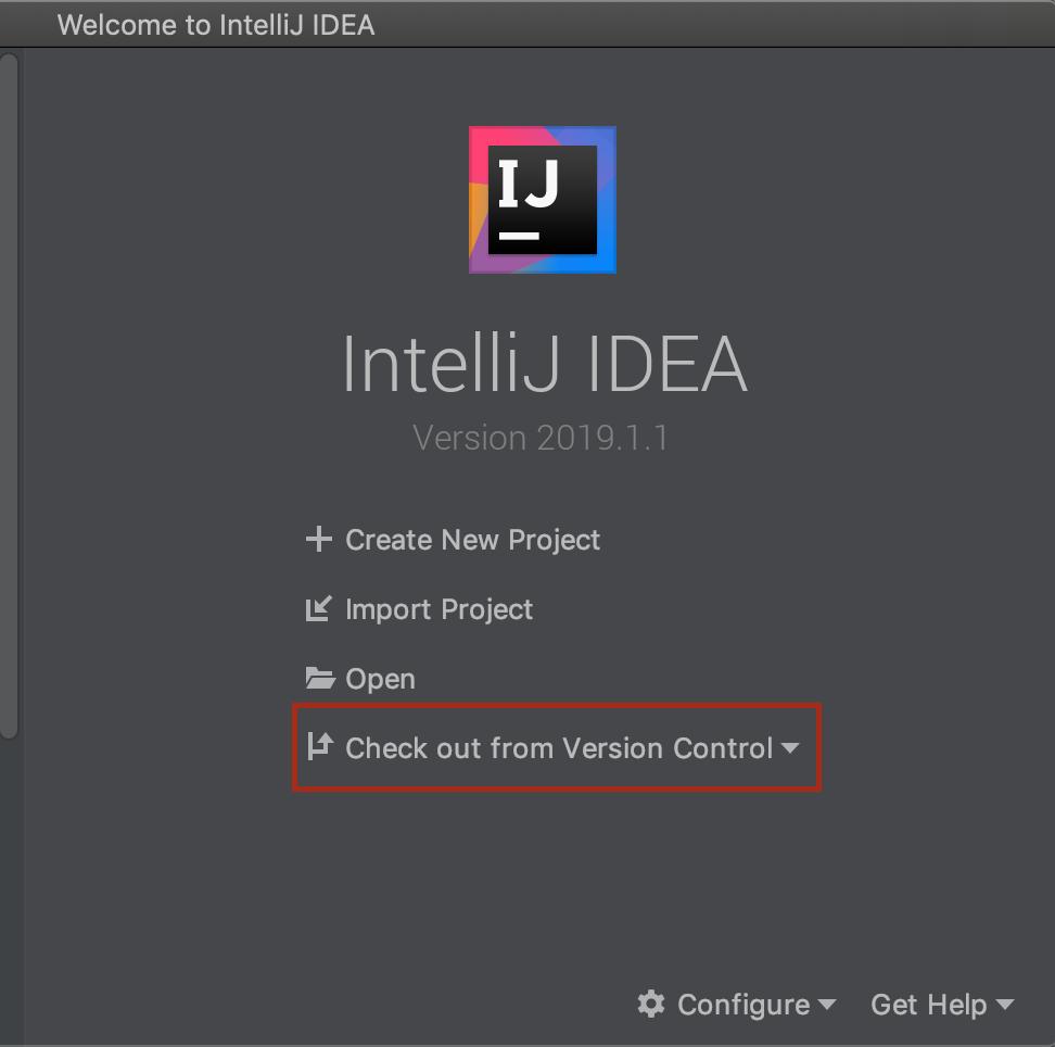 The welcome window of Intellij IDEA
