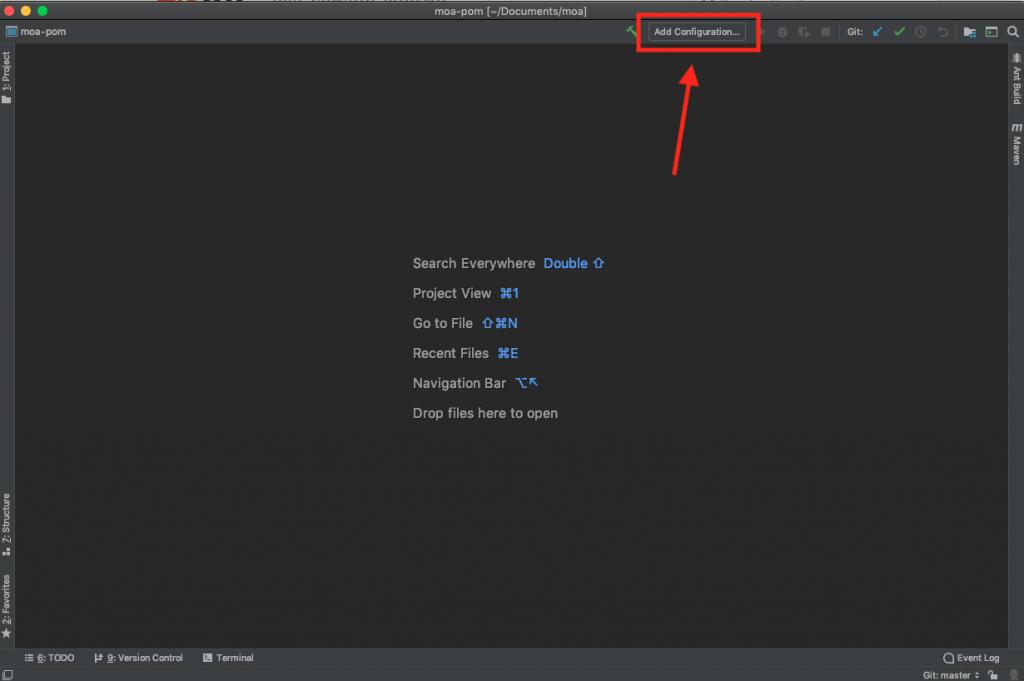 Accessing the configuration menu.